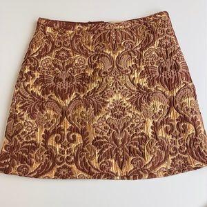 H&M metallic brocade lined mini skirt rose gold